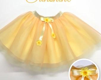 Girls orange and yellow tulle skirt, tangeribe tulle skirt,