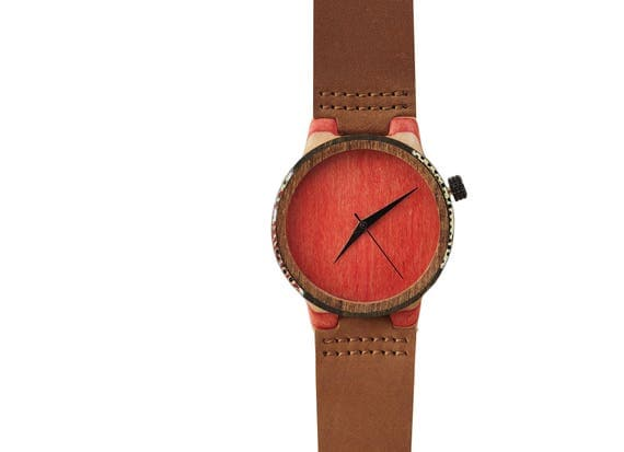 7PLIS watch #102 Recycled SKATEBOARD #madeinfrance Red brown white black