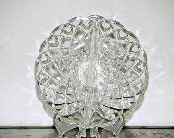 Pressed Glass Relish Plate, 2 Sections, Snack Dish, Weave Pattern, Scalloped Rim, Spiderweb, Fishnet, Starburst, Sun, Daisy, 1940s - 1960s,