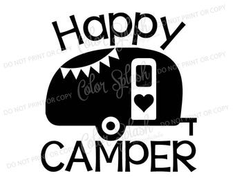 happy glamper, glamping, camper, camping, trailer svg, dxf, png, eps cutting file, silhouette cameo, cuttable, clipart