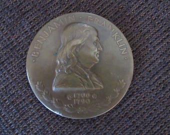 Vintage 1932 Benjamin Franklin Bronze Medal Medallion John Ray JR Sinnock Free Shipping