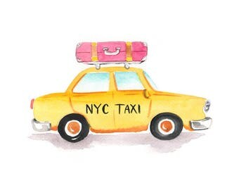 NEW NYC Taxi Art Print: Taxi with luggage