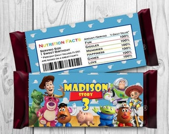 Toy Story Candy Bar Wrapper -Toy Story Chocolate label - Toy Story Printables - Toy Story Supplies - Toy Story Hershey