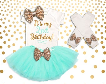 2nd Birthday Outfit Girl Mint and Gold Second Birthday Outfit 2nd Birthday Tutu Set Second Birthday Outfit 2nd Birthday Shirt Girl