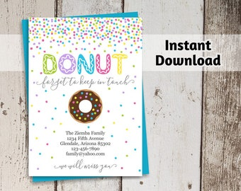 Donut Forget to Keep in Touch - Funny Moving Announcement Template - Printable New Home, New Address Card - Instant Download Digital File