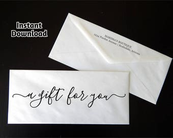 Gift Certificate Envelope Template - Printable Business Envelope Address Template - Rustic Calligraphy Instant Download Digital File PDF #10