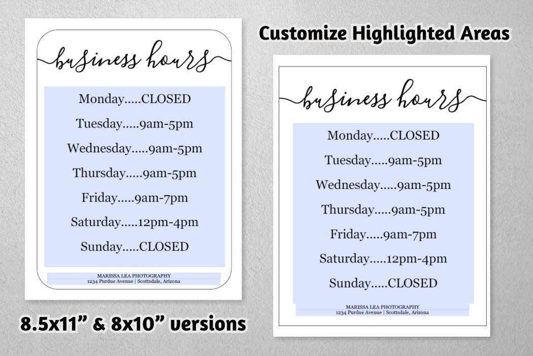 business hours sign printable template hours of operation holiday office store open hours. Black Bedroom Furniture Sets. Home Design Ideas