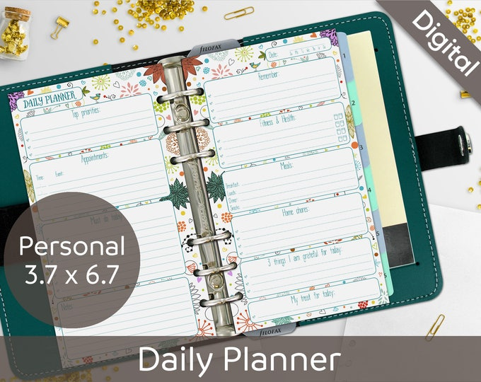 Daily Planner Printable, Printable Daily Schedule, Filofax Personal size, Syasia Cute Floral Day Organizer, DIY Planner PDF Instant Download