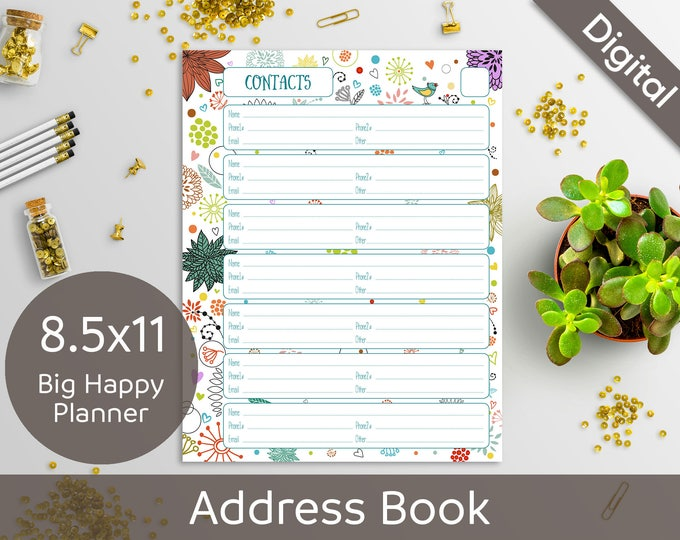 8.5x11 Address Book Pages Printable, Contacts, Letter, Big Happy Planner, 2 layouts, Syasia Cute Floral, DIY Planner PDF Instant Download