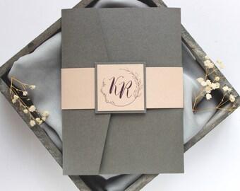 Silver and Blush Wedding Invitation, Dark Gray Wedding Invitation, Gray and Blush Wedding Invitation, Monogram Wedding Invitation