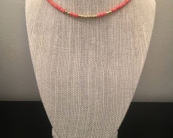 Coral and Gold Choker