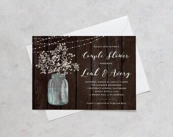 rustic bridal shower invitation baby breath mason jar shower invite printable invitation rustic - Rustic Wedding Shower Invitations