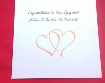 Handmade Engagement Card, Funny Engagement Cards, Congratulations On Your Engagement, Under The Thumb Jokes