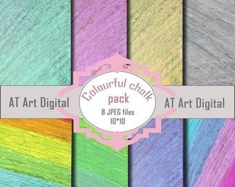 SALE Digital Paper Photography Scrapbook Paper Chalkboard Paper Digital Background Colourful Chalk Digital Paper Commercial Use Chalk Paper