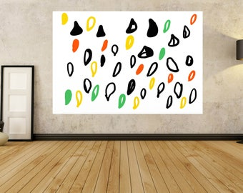 "Abstract Painting on canvas, Large PAINTINGS,  Black & White orange yellow green  "" 30"" to 80"" Modern, contemporary painting,By Jerry Titan"