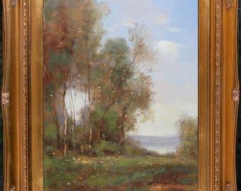 Antique Gold Framed Original Oil Painting On Canvas Signed French Impressionist Landscape