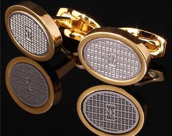 Cartier Yellow Classic Gold Plated Cufflinks Men Jewelry