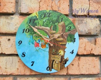 Wood Wall Clock Tree, for children, Home Decor, wall clocks handmade, White wall clock, natural wood, wooden clock, Wooden clock 12inch