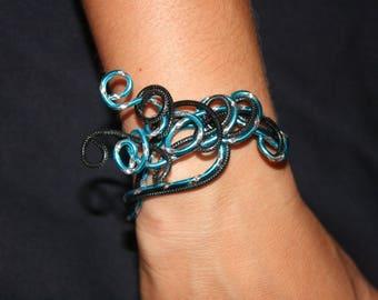 Bracelet + earrings turquoise and Black Aluminum wire