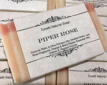 Piper Rose Natural Homemade Soap, Handmade soap, Natural Soap, Cold Process Lye Soap