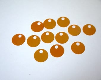 PERFORATED DISKS ORANGE MANGO REFLECTIONS 20 MM FOR CREATING JEWELRY