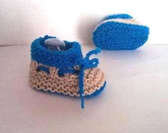 Slippers handmade woolen baby size 0/3 months - beige and blue baby boy and girl