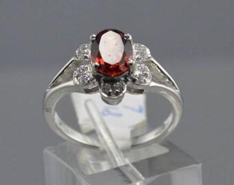 Garnet Sterling Silver Ring, Rhodium Plated, Natural Gemstone, January Birthstone Ring