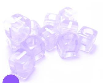 6mm square BEAD letter I translucent purple
