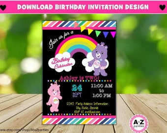Care Bears birthday invitation, Editable, pony, Edit with Adobe,  Magical Celebration, Rainbow, Colorful, Stripes, Print at home