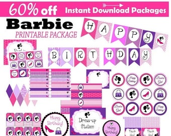 60% OFF SALE Barbie Inspired Party, 60 Percent savings, Instant Download, Dress-up, Party package, cupcake toppers, banner, centerpiece, sig