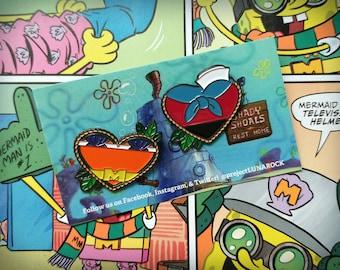 Flawed Mermaid Man & Barnacle Boy Heart Shaped Enamel Pins Set