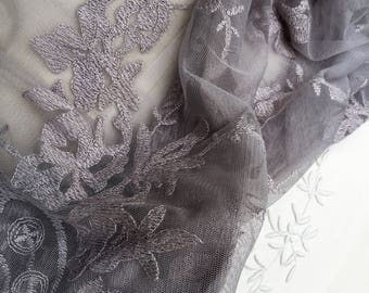 CONFETTI - Beautiful, soft grey delicate Scandinavian scalloped edged lace curtain panel with velvet ties and scalloped edges