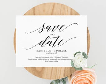 Save the Date Template, Save the Date Cards, Save the Date Printable, Postcard, Bliss Paper Boutique, PDF Instant Download #BPB310_2B