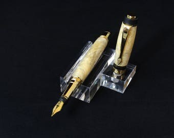 Handmade fountain pen in Natural Buckeye Burl by Specialty Turned Designs