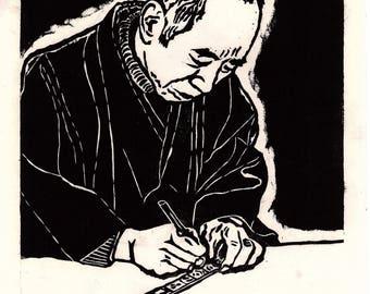 "Japanese Ukiyoe, Woodblock print. Sosaku-Hanga, ""Ivory carving"""