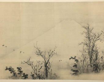 "1909, Japanese antique woodblock print, Watanabe Kazan, ""寒林富岳図""."