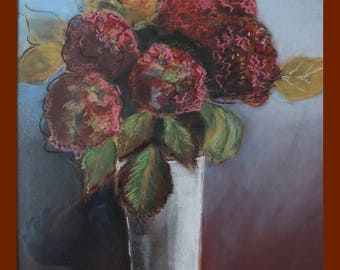 pastel painting depicting a red hydrangea bouquet on a grey background
