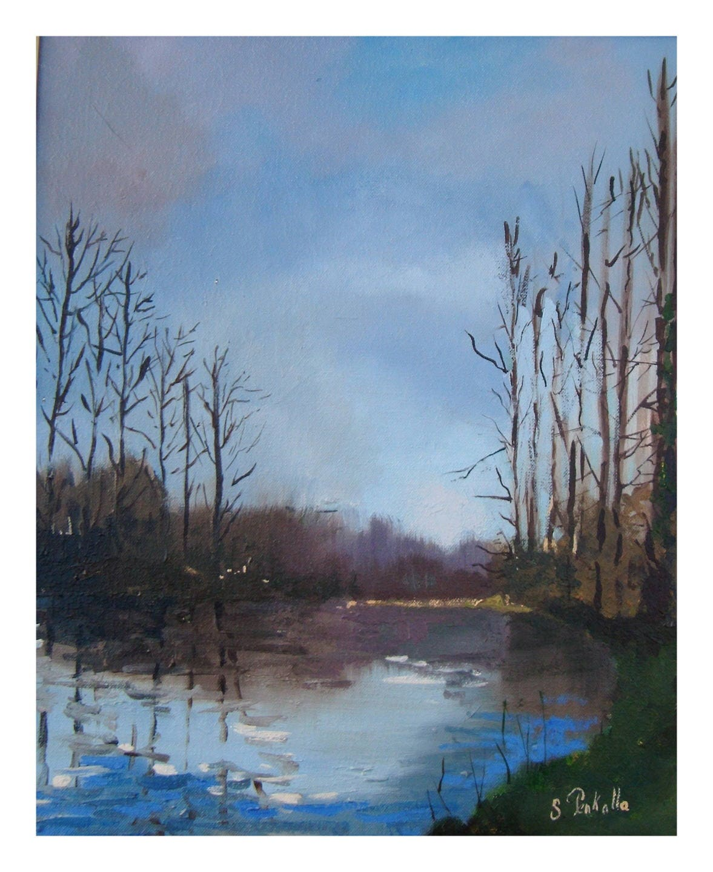 Tableau peinture l 39 huile repr sentant un tang for Peinture a tableau exterieur