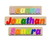 Jumbo Personalized Wooden Name Puzzles Childrens Name Puzzles First Birthday & Baby Shower Gifts Upper and Lower Case Fonts id237907385