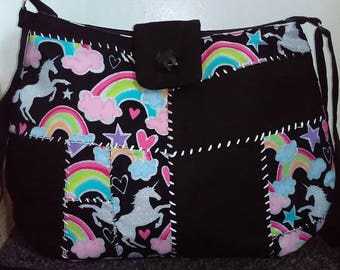 Rainbow unicorn rag bag crossbody