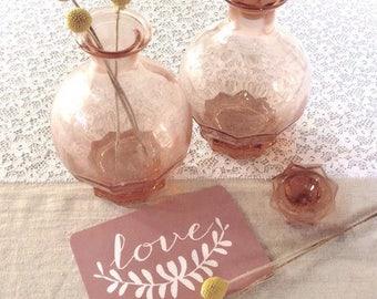 Old carafe glass rose.