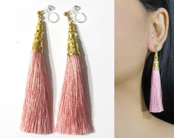 Rose Blush Pink Tassel Clip-On Earrings |35N| Dangle Long Clip Earring, Gold Filigree Clip-ons, Boho Statement Clip on Non Pierced Earrings