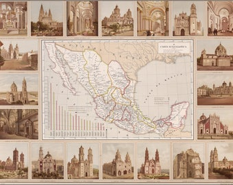 Poster, Many Sizes Available; Ecclesiastical Map Of Mexico 1885