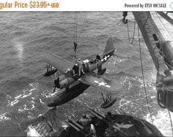 20% Off Sale - Poster, Many Sizes Available; Battleship Uss Texas (Bb-35) Vought Os2U Kingfisher 1945