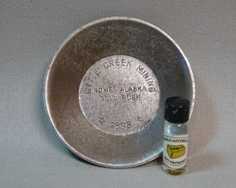 Little Creek Mining Pan Gold Rush Nome Alaska 1898 with some REAL GOLD!!!