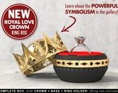 Royal Love Crown Ring Box - proposal ring box, engagement ring box, ring case, wedding, marriage, matrimony, bridal, geeky, geek, fantasy