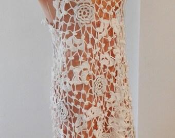 White Crochet dress (long)