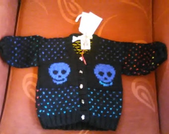 Hand knitted Skull themed cardigan to fit a child aged 3-6 months old