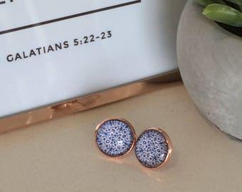 Turkish tile print cabochon earrings