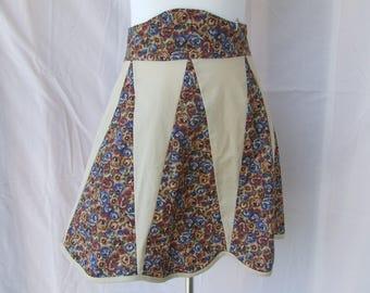 Foral Waist Apron, Homemade Apron, Retro Floral Half Apron